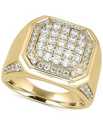 Men s Diamond Cluster Ring 2 ct t w in 10k Gold Rings