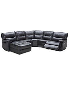 Garraway 5-Pc. Leather Sectional Sofa with Chaise, 1 Power Recliner with Power Headrest and USB Power Outlet, Created for Macy's
