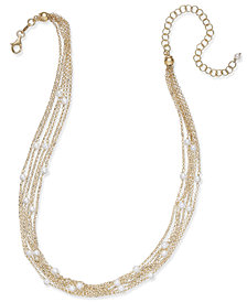Cultured Freshwater Pearl (4mm) Multi-Chain Collar Necklace in 14k Gold-Plated Sterling Silver