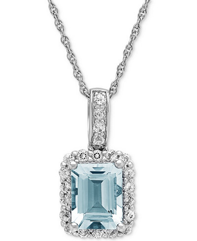 Aquamarine (2-1/10 ct. t.w.) & White Topaz (5/8 ct. t.w.) Pendant Necklace in Sterling Silver