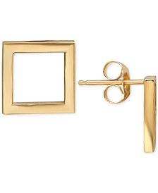 Square Stud Earrings in 14k Gold