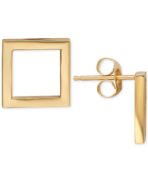 Square Stud Earrings In 14k Gold