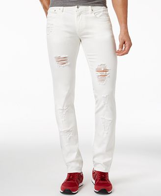 Armani Exchange Men's Ripped White Slim-Fit Jeans - Jeans - Men ...