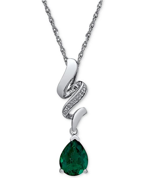 Macy's Lab Created Emerald (1-5/8 ct. t.w.) & Diamond Accent Pendant Necklace in Sterling Silver