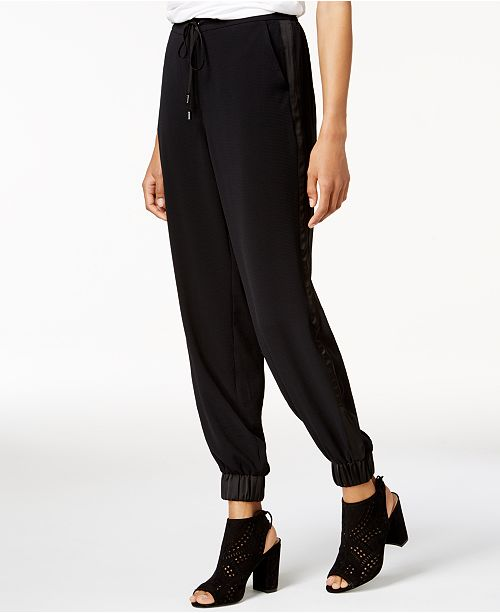 Bar Jogger Contrast for Created Macy's III Trim Deep Black Pants qqBWZHf