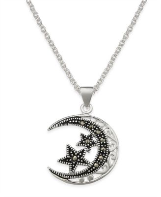 Image of Marcasite Filigree Moon and Stars Pendant Necklace in Silver-Plate