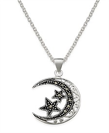 Marcasite Filigree Moon and Stars Pendant Necklace in Silver-Plate