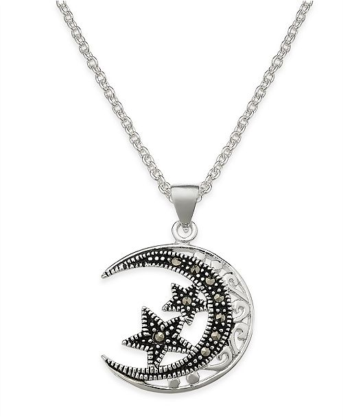 Macy's Marcasite Filigree Moon and Stars Pendant Necklace in Silver-Plate