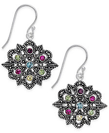 Marcasite & Colored Crystal Openwork Drop Earrings in Silver-Plate