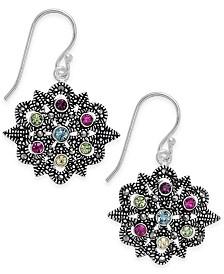Marcasite & Colored Crystal Openwork Drop Earrings in Silver-Plate