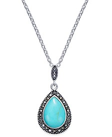 Manufactured Turquoise & Marcasite Teardrop Pendant Necklace in Silver-Plate
