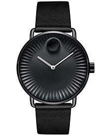 Movado Men's Swiss Edge Black Leather Strap Watch 40mm 3680039