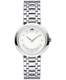 Movado Women's Swiss Diamond-Accent 1881 Quartz Stainless Steel Bracelet Watch 28mm 0607097