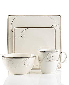 Noritake Dinnerware, Platinum Wave Square 4 Piece Place Setting