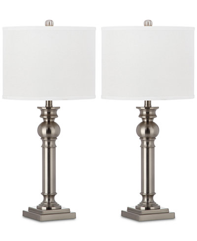 Safavieh Set of 2 Argos Column Platinum-Tone Table Lamps