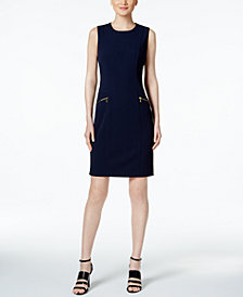 Calvin Klein Zip Pocket Scuba Sheath Dress