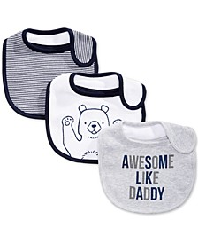 Baby Boys 3-Pk. Bear & Stripes Bibs, Created for Macy's