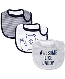 First Impressions 3-Pk. Bear & Stripes Bibs, Baby Boys, Created for Macy's