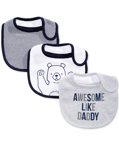 First Impressions Baby Boys 3-Pk. Bear & Stripes Bibs, Created for Macy's