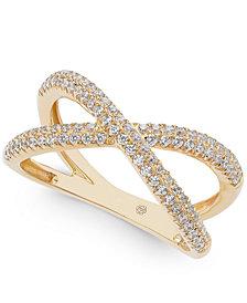Diamond Crisscross Ring (1/2 ct. t.w.) in 14k Gold