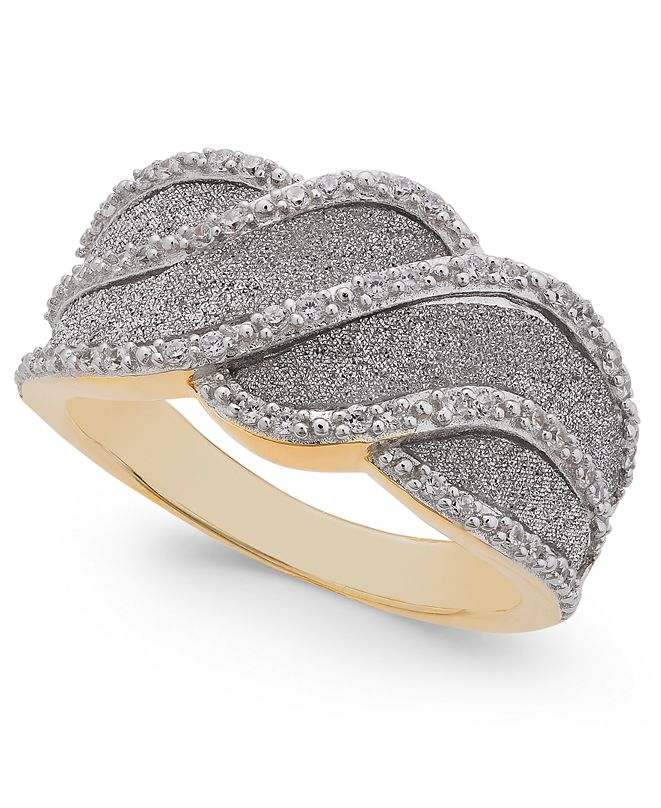 Macy's Diamond Glitter Wave Ring (1/4 ct. t.w.) in 18k Gold-Plated Sterling Silver