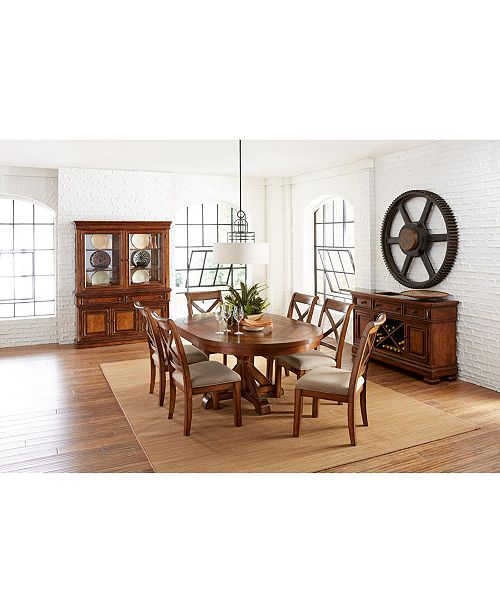 Furniture Closeout! Mandara Expandable Round Furniture, 7-Pc. Set (Round Dining Trestle Table & 6 X-Back Side Chairs)