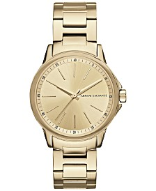 A|X Armani Exchange Women's Gold-Tone Stainless Steel Bracelet Watch 36mm AX4346
