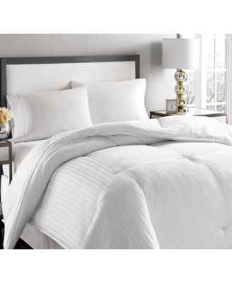 500-Thread Count Damask Stripe Twin White Down Comforter