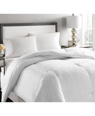 Blue Ridge 500 Thread Count Damask Stripe White Down Comforter