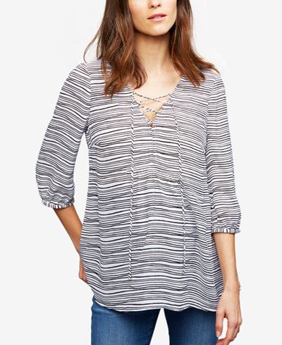 A Pea In The Pod Maternity Striped Lace-Up Blouse