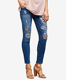 Joe's Jeans Maternity Medium Wash Distressed Skinny Jeans