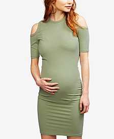 A Pea In The Pod Maternity Cold-Shoulder Sheath Dress