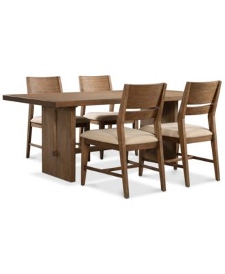 Athena 5 Pc. Dining Set (Dining Trestle Table U0026 4 Side Chairs)