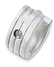 Sutton by Rhona Sutton Men's Stainless Steel Cubic Zirconia Huggie Hoop Earring