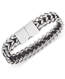 Sutton by Rhona Sutton Men's Stainless Steel Woven Leather Bracelet