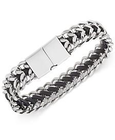 Sutton by Rhona Sutton Men's Stainless Steel Woven Leather Bracelet