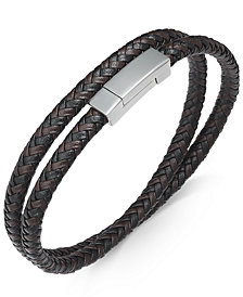 Sutton by Rhona Sutton Men's Stainless Steel and Braided Leather Wrap Bracelet
