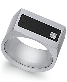Sutton by Rhona Sutton Men's Stainless Steel Cubic Zirconia and Black Enamel Ring