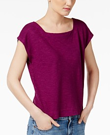 eileen fisher organic cotton blend cropped boxy top regular petite