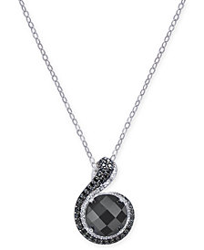 Onyx, Diamond (1/6 ct. t.w.) & Black Spinel Pendant Necklace in Sterling Silver