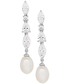 Cultured Freshwater Pearl (9 x 7mm) & Swarovski Zirconia Drop Earrings in Sterling Silver, Created for Macy's