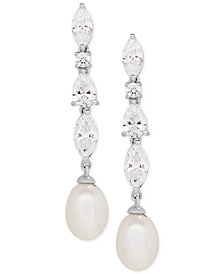 Arabella Cultured Freshwater Pearl (9 x 7mm) & Swarovski Zirconia Drop Earrings in Sterling Silver, Created for Macy's