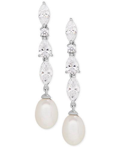 Arabella Cultured Freshwater Pearl (9 x 7mm) & Swarovski Zirconia Drop Earrings in Sterling Silver, Created for Macy's