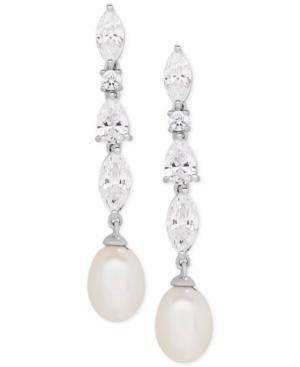 Cultured Freshwater Pearl (9 x 7mm) & Cubic Zirconia Drop Earrings in Sterling Silver