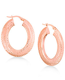 Textured Herringbone Pattern Hoop Earrings in 14k Gold or Rose Gold