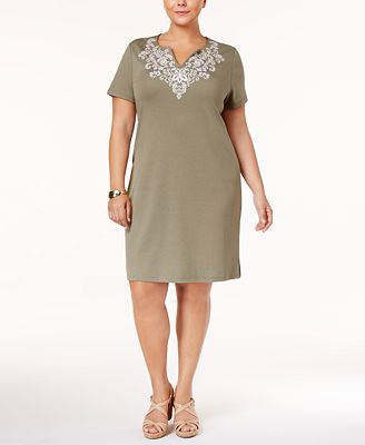 karen scott plus size cotton embroidered t-shirt dress, created