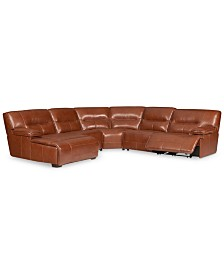CLOSEOUT! Beckett 5-pc Leather Sectional Sofa with Chaise and 1 Power Recliner, Created for Macy's