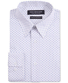 Nick Graham Men's Modern Fitted Stretch Performance White Neat Geometric Print Dress Shirt
