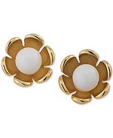 Trina Turk Gold-Tone Colored Stone Flower Stud Earrings