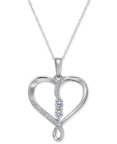 Diamond Heart Twist Pendant Necklace (1/4 ct. t.w.) in 14k White Gold